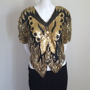 Vintage Butterfly Sequin Top/ Blouse- Free size